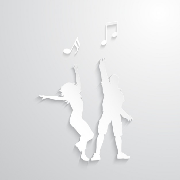 Dancing Silhouettes with musical notes