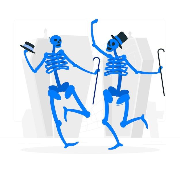 Танцующие скелеты концепции иллюстрации Бесплатные векторы