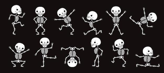 骸骨の踊り。かわいいハロウィーンのスケルトンダンサー、面白いホラーキャラクターベクトル分離セット。イラストスケルトンハロウィンパーティー、キャラクター人間の骨 Premiumベクター