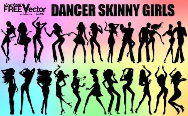 Dancing skinny girls silhouettes