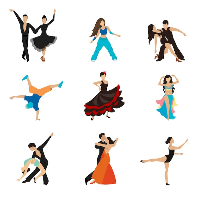 Dancing styles flat icons set. partner dance waltz, performer tango, woman and man. Free Vector