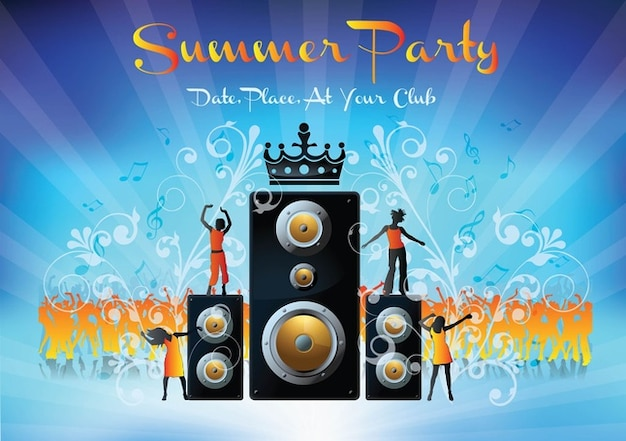 Dancing Summer party vector elements