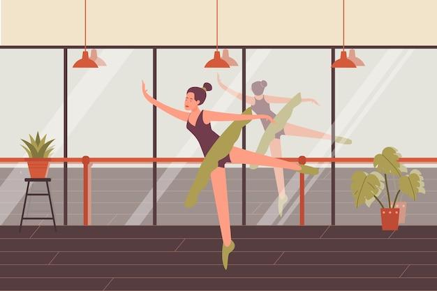 踊る女性バレリーナポーズ振り付けダンススクール Premiumベクター