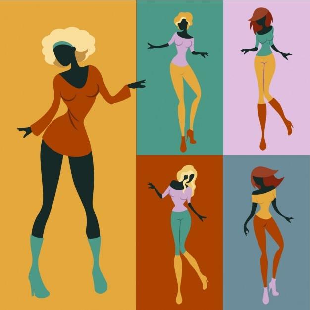 Dancing women Free Vector