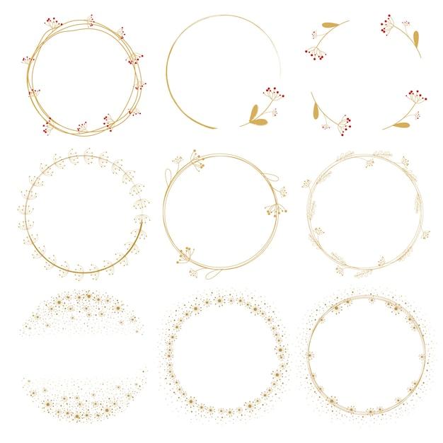 Dandelion golden doodle wreath frame collection Premium Vector
