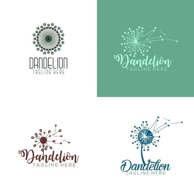 Dandelion logo Premium Vector