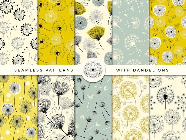 シームレスなタンポポ。風花自然ハーブは、印刷デザインプロジェクトのコレクションを飾る Premiumベクター