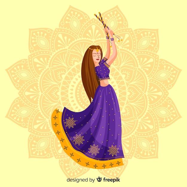 Dandiya dancer Free Vector