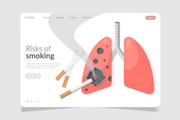 喫煙の危険性ランディングページ Premiumベクター