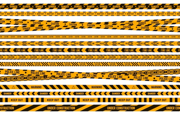 Danger police tape. caution yellow and black tape, criminal perimeter striped line, attention warning borders  illustration set. safety stripe, criminal border zone, forbidden tape Premium Vector