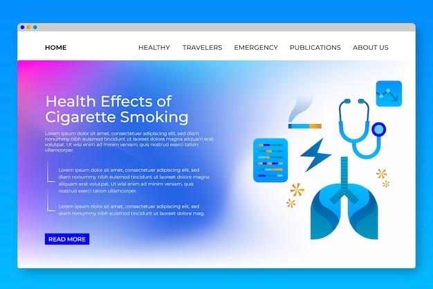 Pericolo di fumare il modello di pagina di destinazione Vettore gratuito
