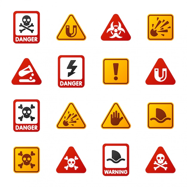 Danger warning attention sign icons Premium Vector