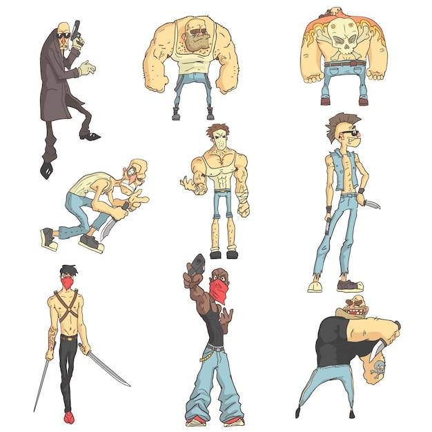 Dangerous criminals set of outlined comics style illustrations Premium Vector