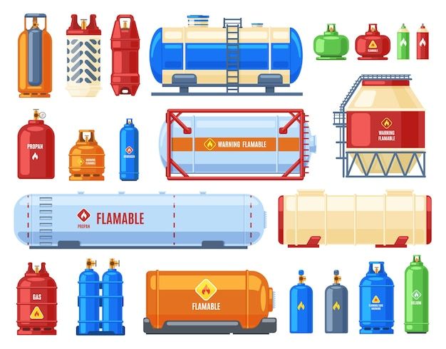 Dangerous gas containers illustration Premium Vector