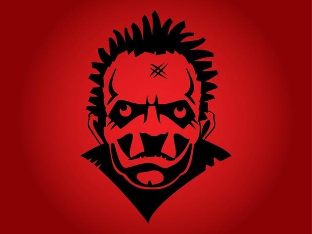 Dangerous psycho man face portrait