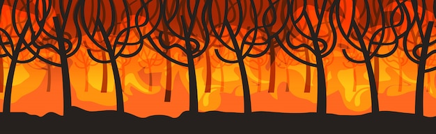 Dangerous wildfire bush fire development dry woods burning trees global warming natural disaster concept intense orange flames horizontal Premium Vector