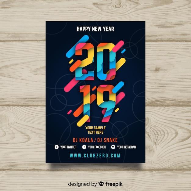Темный юбилейный плакат 2019 года Бесплатные векторы