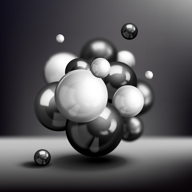 Dark 3d spheres molecule background Free Vector
