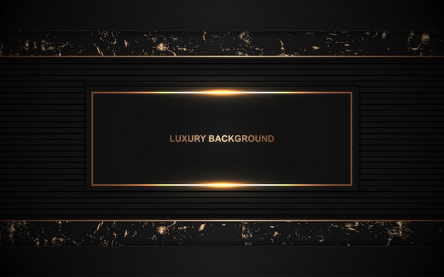 Dark abstract background overlap layers with golden decoration Premium Vector