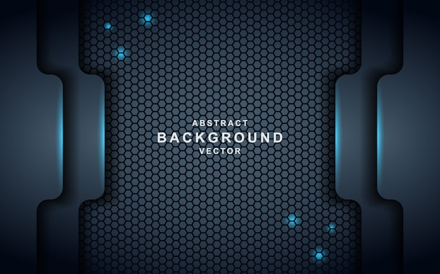 Dark abstract background with black overlap layers. texture with blue effect Premium Vector