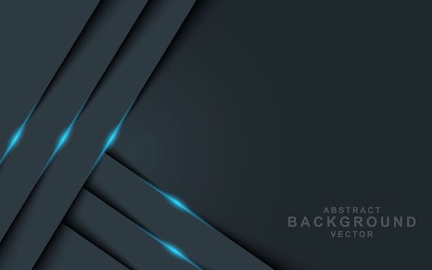 Dark abstract background with black overlap layers with blue light effect Premium Vector
