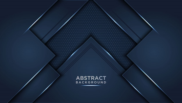 Dark abstract background with dark blue overlap layers. Premium Vector