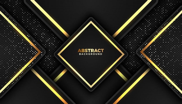 Dark abstract background with overlap layers. golden glitters dots element Premium Vector