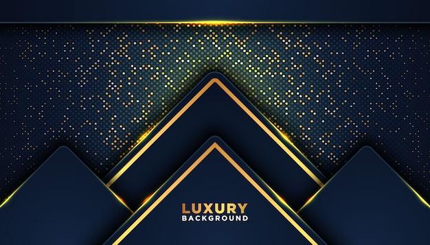 Dark abstract background with overlap layers. luxury design concept. golden glitters dots element decoration. luxury design concept. Premium Vector