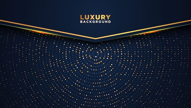 Dark abstract background with overlap layers. luxury design concept. golden glitters dots Premium Vector
