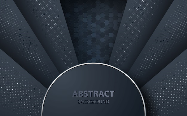 Dark abstract background with overlap layers Premium Vector