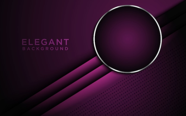 Dark abstract background with purple overlap layers and circle Premium Vector