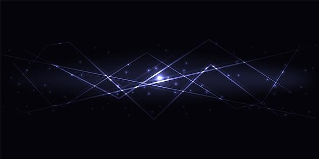 Темный абстрактный инновационный технологический фон с фиолетовыми полупрозрачными светящимися линиями и бликами. Premium векторы
