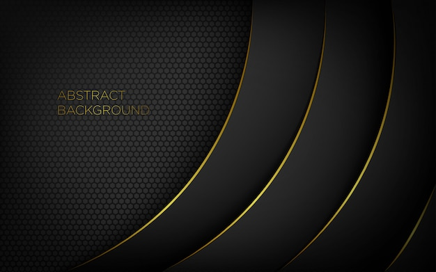 Dark Abstract Modern Background With Gold Lines Vector
