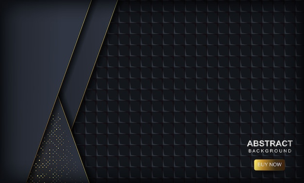 Dark abstract  with blue overlap layers. texture with golden glitters dots element and square geometric . Premium Vector