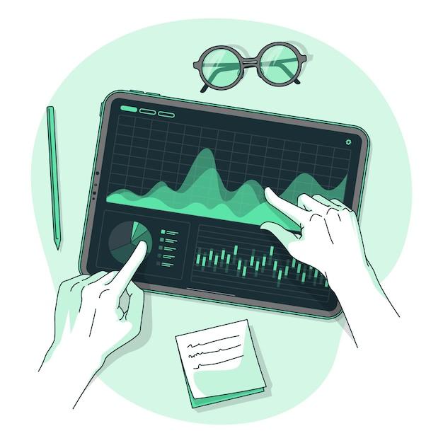 Dark analytics concept illustration Free Vector