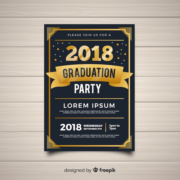 Dark and golden graduation party invitation template Vector | Free ...