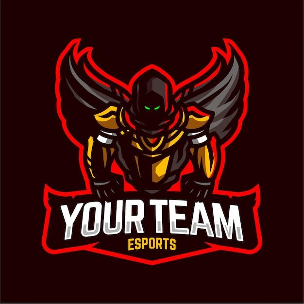 Dark angel mascot gaming logo Premium Vector