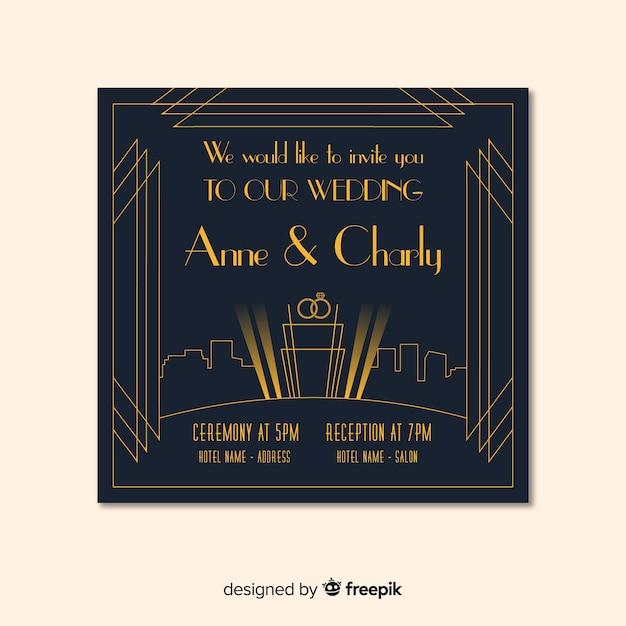 Dark Art Deco Wedding Invitation Template Vector Free Download