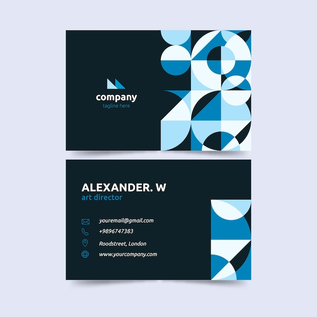 Dark background and gradient blue business card template Free Vector