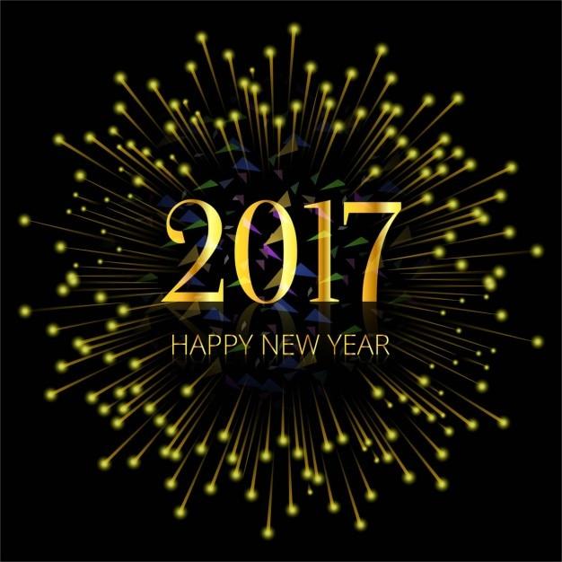 Dark background of golden fireworks of 2017 Free Vector