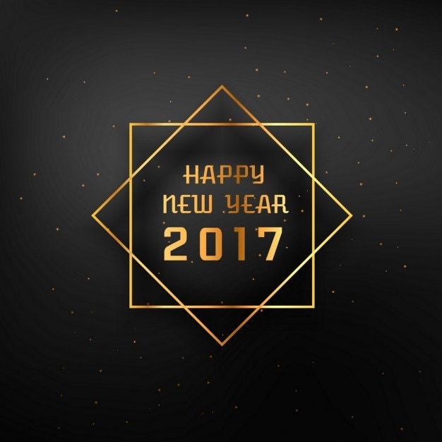 Dark Background Of Happy New Year 2017 With Golden Frame Free Vector