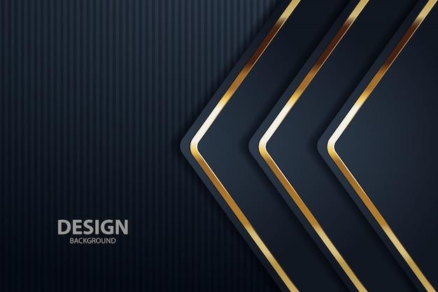 Dark background overlap layer with silver golden Premium Vector