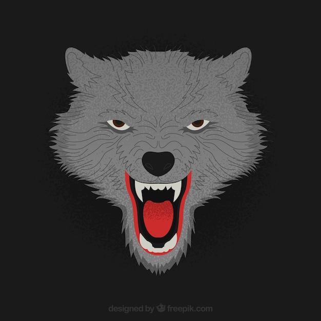 Dark background of threatening wolf Free Vector