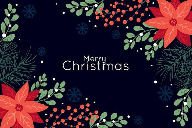 Темный фон с рождественскими цветами Бесплатные векторы