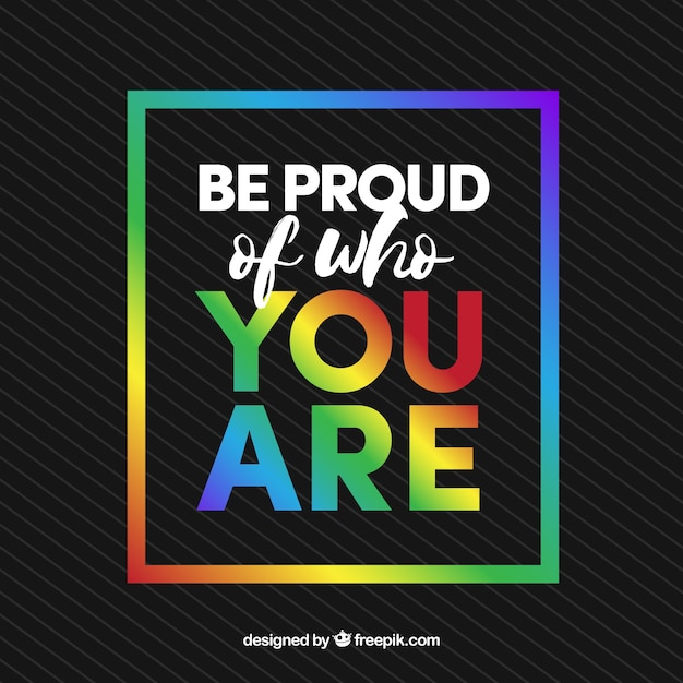 Dark background with colorful frame and inspirational message Free Vector