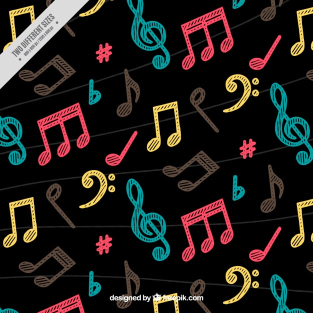 Dark background with colorful musical notes hand painted
