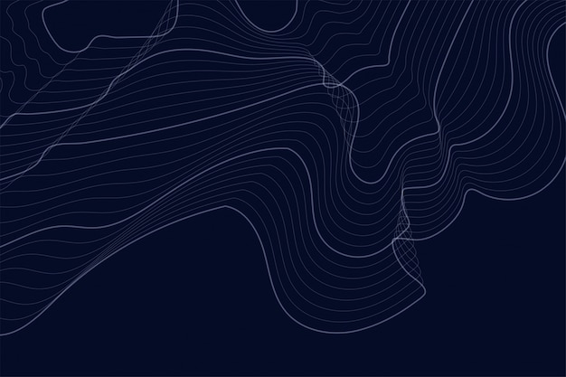 Dark background with contour lines Free Vector