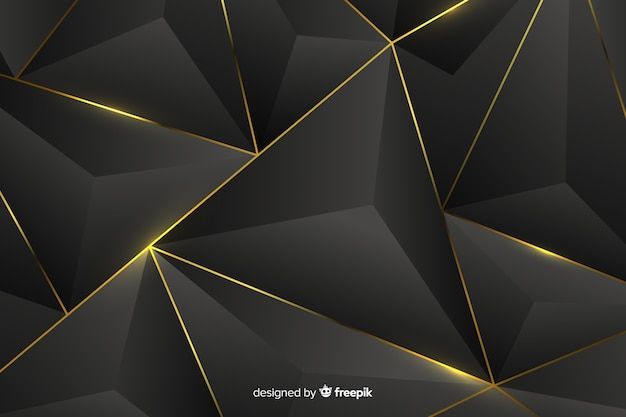 Free Vector Dark Background With Golden Abstract Shapes