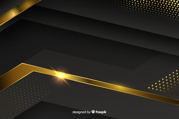 Dark background with golden abstract shapes Free Vector