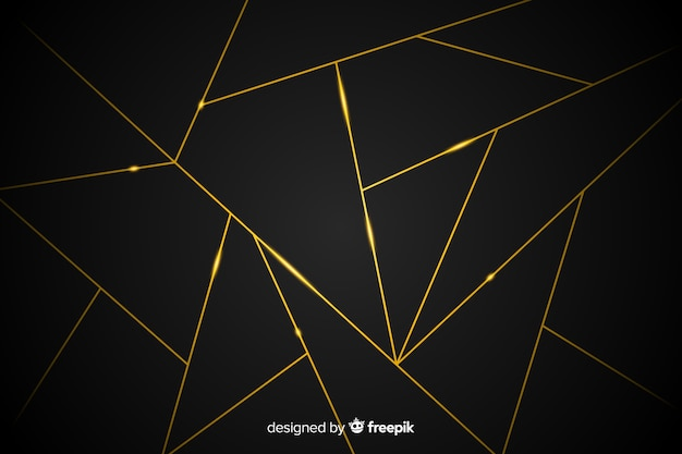 Dark background with golden lines Free Vector